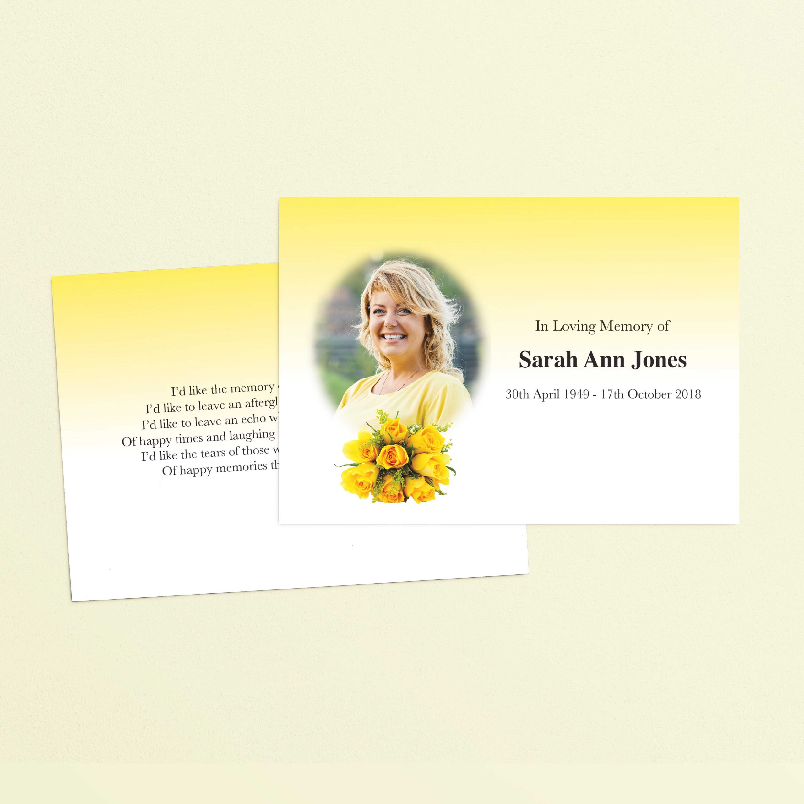 Yellow Rose Memorial Card